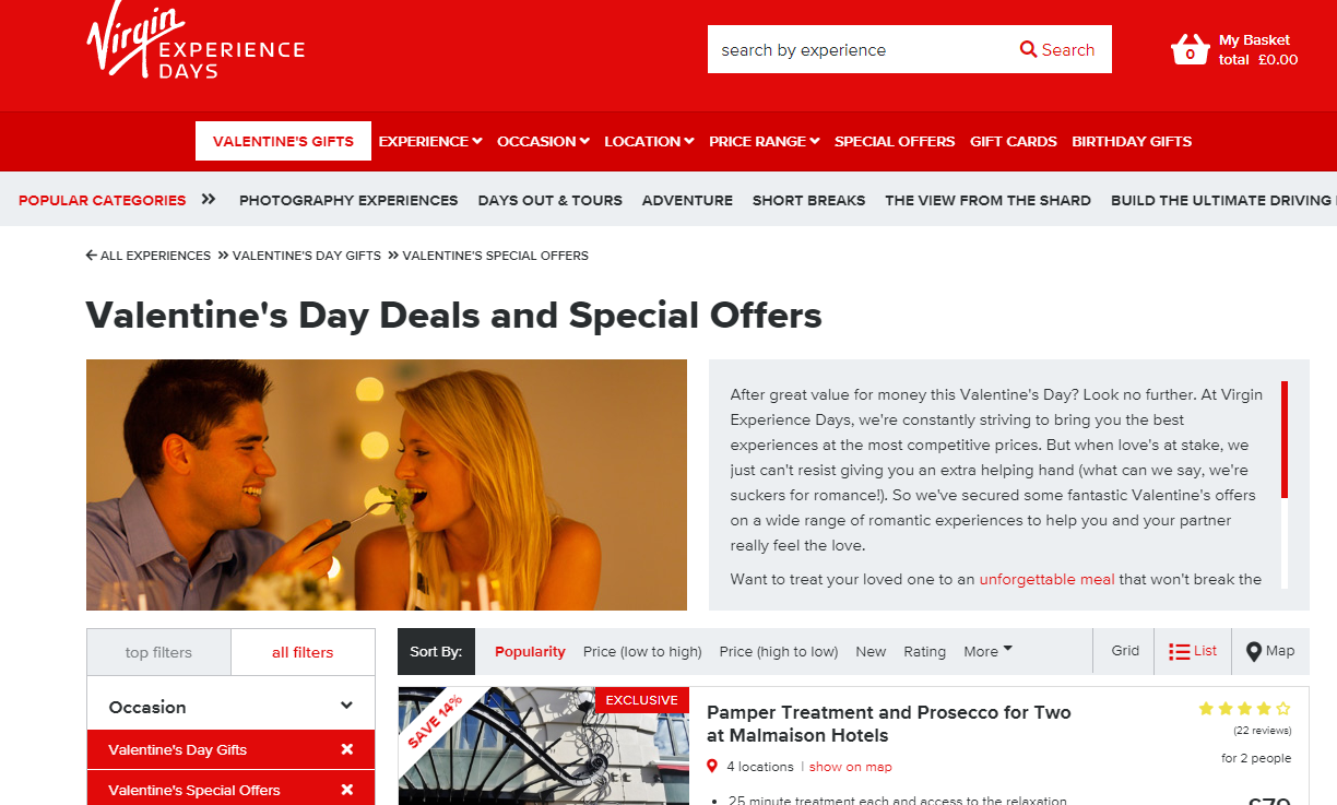 Virgin Valentines Day Deals